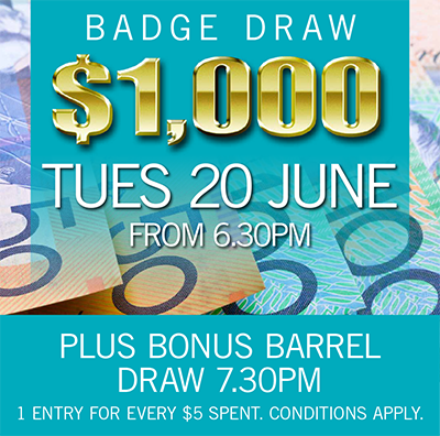 $1000 BADGE DRAW 20 JUNE 2017