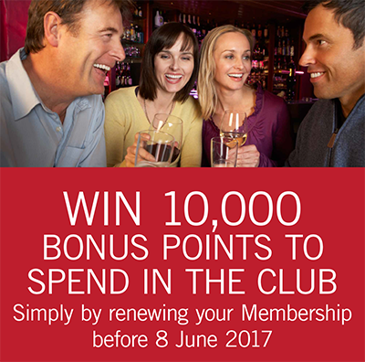 WIN 10,000 bonus points by renewing your Membership